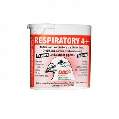 Pigeon Product - Respiratory 4+ Tablets by DAC - Racing Pigeons
