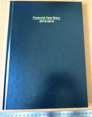 Diary FINANCIAL YEAR 2018/19 A4 Week To View Hardcover Black