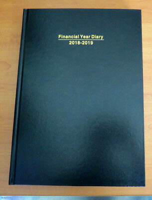 Diary FINANCIAL YEAR 2018/19 A4 Day To Page View Hardcover Black