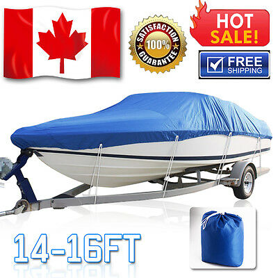 "210D 14 15 16ft Trailerable Fish Ski Waterproof Boat Cover V-Hull Beam 90"" Blue"