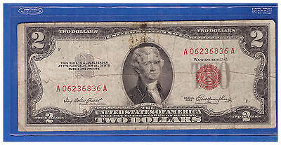 1 1953  Series United States Note Red Seal $2 Two Dollar Bill  LT H570