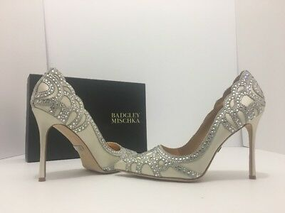 Badgley Mischka Rogue Ivory Satin Evening Women's High Heels Pumps Size 6 M