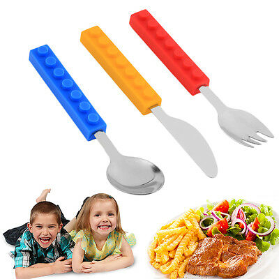 Bricks Silicon Steel Portable Adult Kids Cutlery Knife Fork Spoon WI