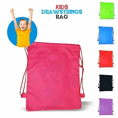 New Styl-Kids New Plain Bag Gym Bag Pump Bag Sports School Drawstring Boys Girls
