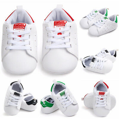 Infant Newborn Baby Boy Girl Soft Sole Laceup PU Pram Shoes Trainers 0-18Months