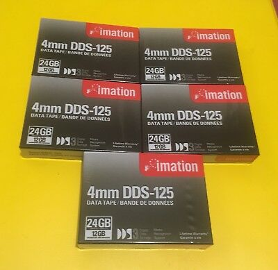 5x Imation 4mm DDS-125 Data Cartridges