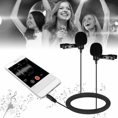 BY-LM400 Dual-head Condenser Lavalier Microphone Black For IOS Android NI