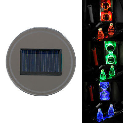 3Colors Vehicle Solar Light Car Auto Cup Holder Bottom Pad LED Light Covers Trim