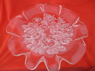Ornate Cut Glass Platter/Shallow Bowl Pie Crust Edge Floral Pattern 42 Cm Diam