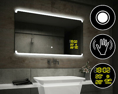 LED Illuminated Bathroom Mirror L73 | Switch | Weather Station S2