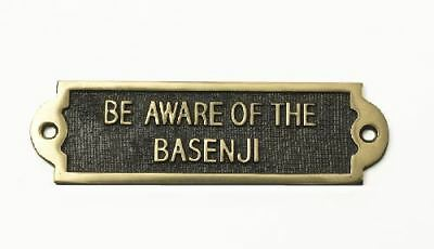 """""""BE AWARE OF THE BASENJI"""" Solid Brass Beware of the Dog Sign"""