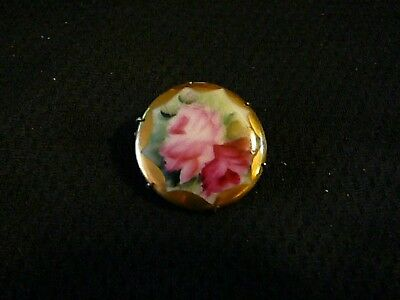 Vintage Antique Victorian Porcelain Hand Painted Red/Pink Rose Brass Brooch Pin