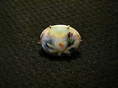 Antique Victorian Porcelain Hand Painted Water Lily,Cat Tails Brass Brooch Pin