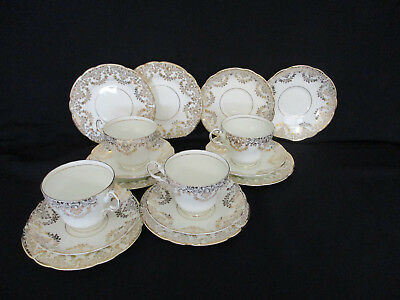 Royal Vale China Regency Gold Chintz Tea Service - 4 Cups, 6 Plates, 6 Saucers