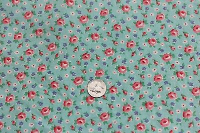 Vintage Doll Scale Tiny Pink Roses On Turquoise Ground Cotton Fabric c1840
