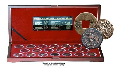 Box of 20 Ancient Certificated Bronze Coins of the Silk Road, Historical Asia