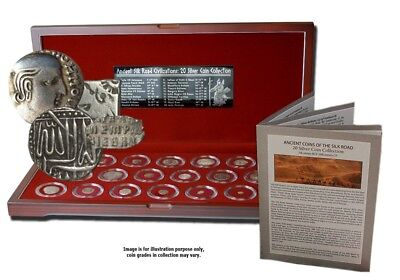 Box of 20 Ancient Certificated Silver Coins of the Silk Road, Historical Asia