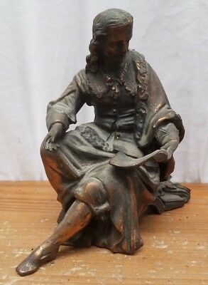 Antique Vintage Cast Spelter Statue Seated Philosopher reading with Book