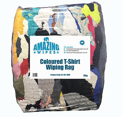 Amazing 10kg Coloured T-Shirt Cotton Wiping Cleaning Polishing Rags Cloths Bag