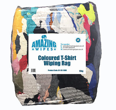 Amazing 30kg Coloured T-Shirt Cotton Wiping Cleaning Polishing Rags Cloths Bag