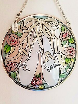 "Stain Glass Hanging Window Art Ballet Shoes Round 3.5"" by AMIA"