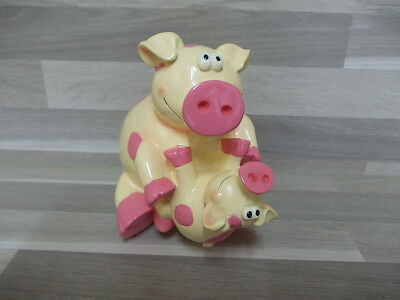 Very nice piggybank Money box pig with baby pig ornament decorative coin bank