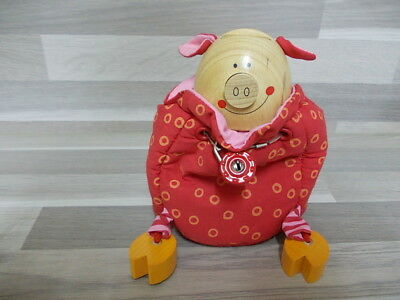 Very nice piggybank Money box with wood head and foot coin bank