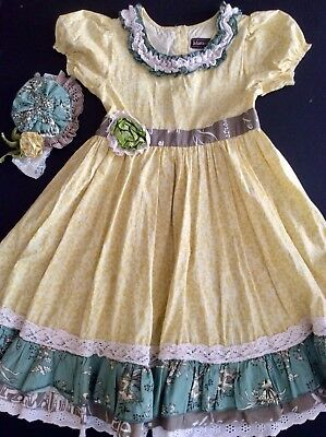 Mustard Pie Beautiful Spring Easter Dress Sz. 10 EUC + Headband