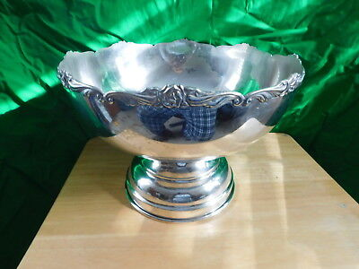 Vintage EP Nickel Silver Punch Bowl Set With 18 Cups And Ladle ~