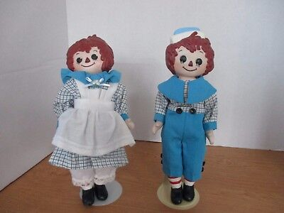 """RAGGEDY ANN & ANDY 10"""" PORCELAIN DOLLS with Stands"""