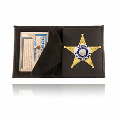 Boston Leather Black Full Grain Leather Book Badge Case With 4109 Cut Out