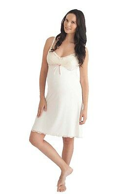 New Tag Belabumbum Rachelle Maternity Nursing Slip Night Gown Ivory Medium $77