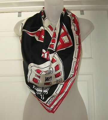 "MONDI Large Silk Scarf 34"" Red/Black/White ~ The World is My Oyster Vintage"