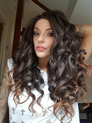 Brown ombre curly lace wig