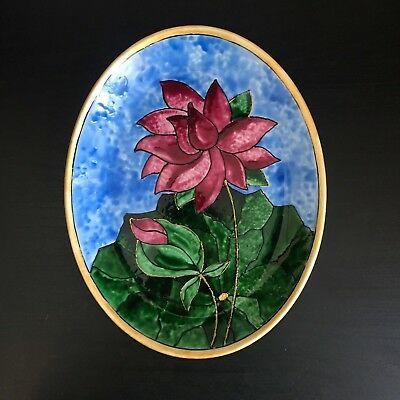 Unique hand made Glass painting on china dish for decor