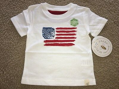 Burt's Bees Baby 100% Organic Cotton American Flag Tee Size 6-9 Months NWT