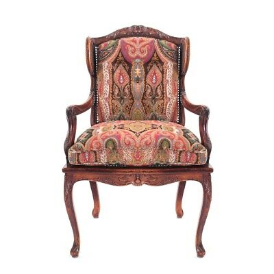 Antique Carved Arm Chair With Caned Seat And Back