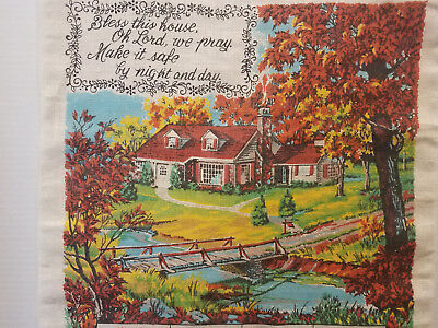 "1983 Calendar Towel Linen Vintage Kitchen Towel ""Bless this House"" 27"" x 16 1/2"""
