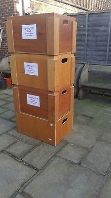 Set of four large strong stacking wooden storage and travelling kit boxes