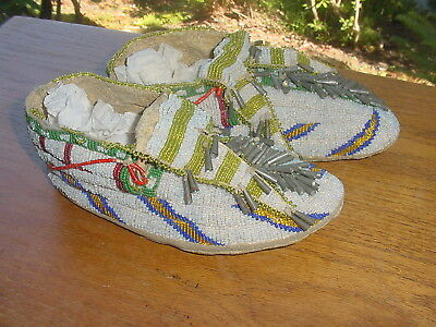 Sioux Indian Beaded Moccasins With Tin Cones Quills And Painted Parflech Soles