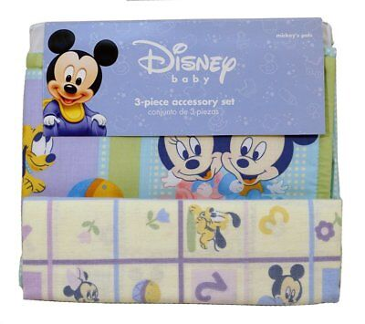 Disney Mickey Baby (3 pc Set) Receiving Blanket+Crib Dust Ruffle+Diaper Stacker