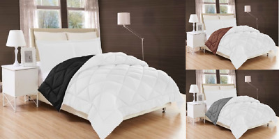 Down Alternative Comforter Bed Cover REVERSIBLE 2 SHADES  quilted SOLID PLAIN