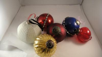 Vintage 6 Large Heavy Kugel Style Glass Christmas Ornaments Blue Gold White Red