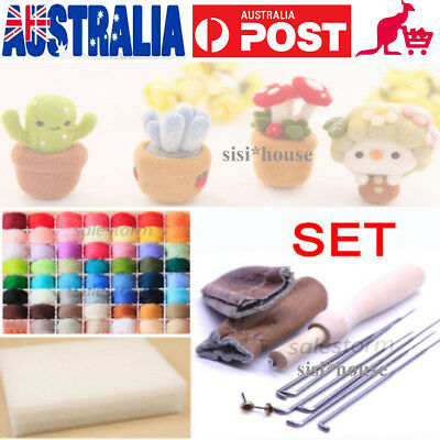 20Color DIY Wool Felt Tool Set+Needle Felting Needles Mat Starter Craft Kits OZ