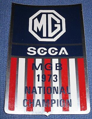 Original Vintage 1973 MG National Champion Foil Decal / Bumper Sticker