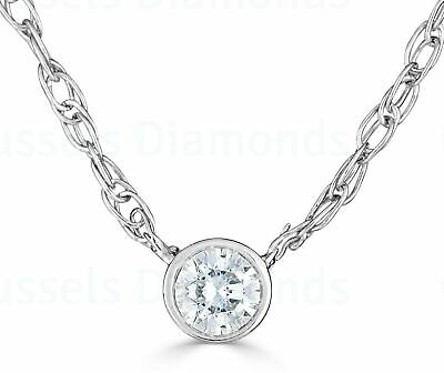 "0.05 Ct Real Diamond Solitaire Bezel Necklace H/SI1 Round 16"" 14K White Gold"