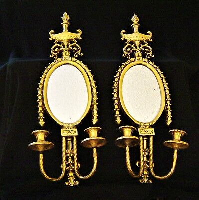 Pair of Antique,solid Brass, mirrored Sconces