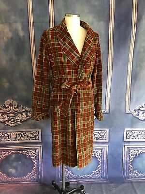 VNTG 1970s Russet Brown & Green Plaid Shawl Collar Robe ONE SIZE MENS Corduroy