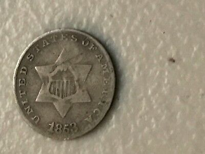 "Small piece- silver 3 cent ""postage"" coin 1853 exhilarating"
