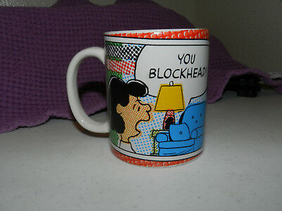 """Peanuts Lucy Coffee Cup Mug """"You Blockhead!"""" United Feature Syndicate"""